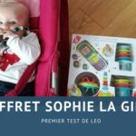 Léo fait son premier test avec le coffret de jouets d'éveil de Sophie la Girafe